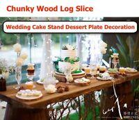 Wood Log Slice Outdoor Rustic Wedding Cake Stand Dessert Plate Table Decor
