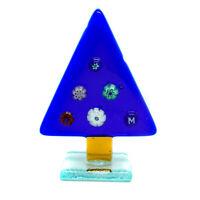 Murano Glass Christmas Xmas Decoration Blue Multi Tree Stand Millefiori