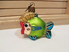 "NEIMAN MARCUS GLASS ORNAMENT--""PUFFY FISH""--BUTTERFLY SIGNATURE METAL TAG"