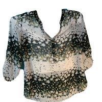 Women's Size XL Sara Michelle Floral 3/4 Sleeve Blouse Button