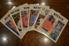 Vintage Iron-On Transfer Books T-Shirt Patterns Bunny Teddy Kitty Kids Lot of 6