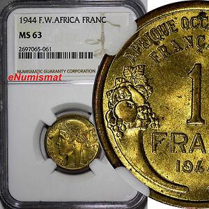 French West Africa Aluminum-Bronze 1944-L 1 Franc NGC MS63 Laureate Head KM2/061