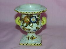 Vintage Pottery Vase Urn, Made in Italy, Flower Design #0536