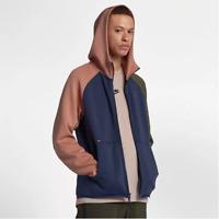 New Men's Nike Tech Fleece Full-Zip Hoodie (928483-410)  Mid Navy/Blush-Olive