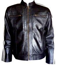 Mens Leather Jacket Stripe Classic Fashion Cream Cafe-Racer Inspired Lamb Jacket