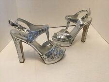 "NEW Guess 5 3/4"" Silver Glitter Peep Toe Platform Pumps 8.5"