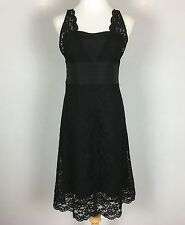 Anthropologie Odille Black Lace Overlay Sleeveless Cocktail Dress, Size 8