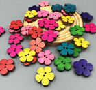 50-100 Wooden buttons Mixed Colors Retro flowers Sewing Scrapbooking buttons19mm