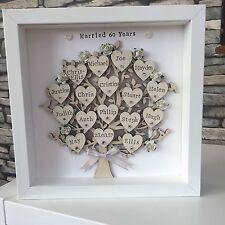 Personalizzata Famiglia Tree, diamante matrimonio anniversario, NONNI REGALO