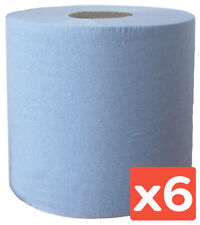 6 x PACK BLUE CENTRE FEED ROLL HAND TOWEL STRONG PAPER COMMERCIAL TISSUE  ROLLS