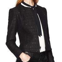 Anne Klein Black Sequin Zip Front Collarless Tweed Jacket for Women - Size 14
