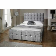 Crushed velvet bed frames divan bases ebay for Velvet divan bed frame