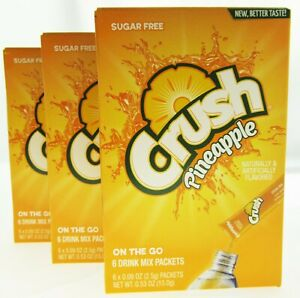 Pineapple Crush ~ Packets ~ Sugar Free ~ Drink Mix ~ Lot of 3