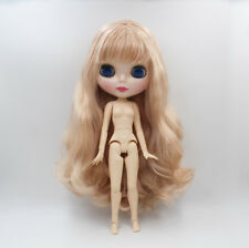 "12"" Blythe Doll From factory Nude Champagne Pink Long curly hair joints body"