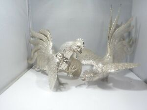 PAIR INDUSTRIA PERUANA STERLING SILVER FIGHTING COQS / ROOSTERS  33.5 TOZ