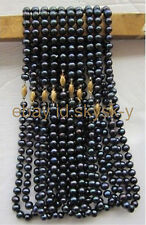 AA wholesale natural 10PC 7-8mm Black Tahitian pearl necklace 18 Inch