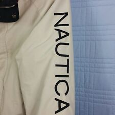 Nautica Mens XL Beige Gray Reversible Jacket Fleece Nylon Hidden Hoodie Logo