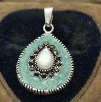 Vintage Sterling Silver Necklace 925 Pendant Signed CW Enamel Marcasite