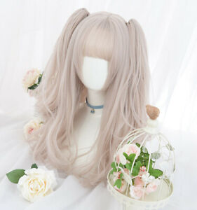 Lolita Wigs Princess Long Curly Hair Double Ponytails Hair Clips Hairpieces