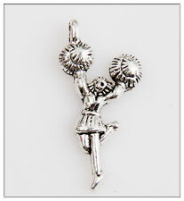 35 Cheerleaders Girl Tibetan Silver Pendants Jewelry Making Findings EIF0617