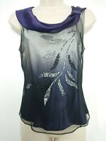MINUET Purple Black Silver Ombre Silk Top with Netting Overlay Size 10 BNWT