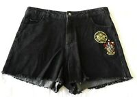 Ladies size 8 HARRY POTTER faded black denim shorts NEW