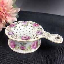 Vintage Pink Roses Porcelain Ceramic China Tea Bag Strainer 2 Piece Drainer