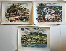 Lot of 3 Vintage Hawaii Travel Scenes Painted by Joe Feher, United Air Lines