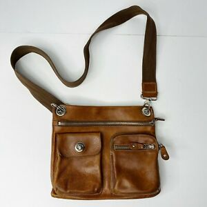 Roots Vintage Leather Village Tribe Crossbody Purse Bag Brown