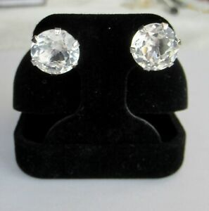 11.5 MM White Topaz Stud Earrings in 14K White Gold~~Over 12 cts Combined