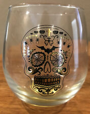 Grandin Road TMD Halloween Sugar Skull Stemless Wine Glass Barware-New