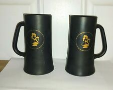 Vintage Playboy Club Black Glass Beer Mug Bunny In Gold Set Of 2 Mugs