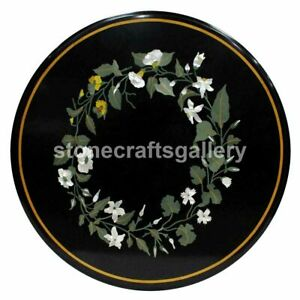 Black Marble Coffee Table Top Malachite Marquetry Inlay Floral Art Decorate B197