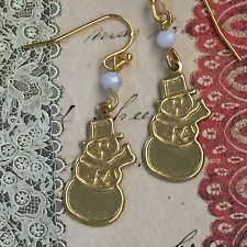 Gold Snowman White Iridescent Crystals Dangle Earrings. Holiday. Frosty.