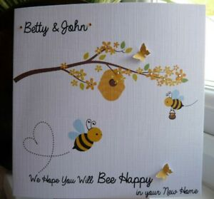 Personalised New Home House Card Handmade ' Bee Happy '