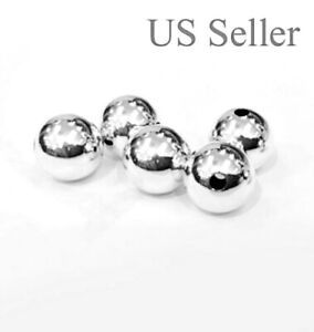 1pc 14k solid white  gold 6 mm round polish loose  bead  6MM