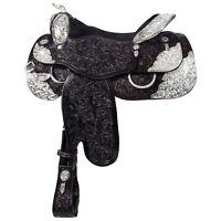 """Western show saddle 16"""" on eco leather buffalo black on drum dye finished"""