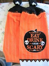 LOT OF 2 EAT DRINK & BE SCARY CROCHET TOP KITCHEN, BATH HAND TOWELS