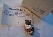 Vintage Hand Carved Wood Owl Pin Brooch - Hand Painted – Original Card & Box