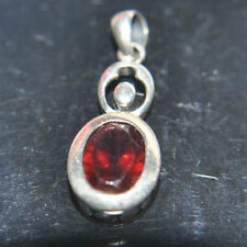 OVAL RED RUBY  SILVER NECKLACE PENDANT
