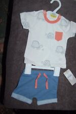 M&S 2 Piece Shorts and T Shirt Set 100% Cotton Age Up to 1 Month BNWT
