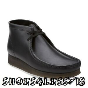 NEW MENS EXCLUSIVE CLARKS OF ENGLAND BLACK LEATHER ORIGINAL WALLABEE 26103666