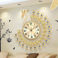 Large Modern Luxury Peacock Crystal Jeweled Diamond Wall Clock Home Room Decor
