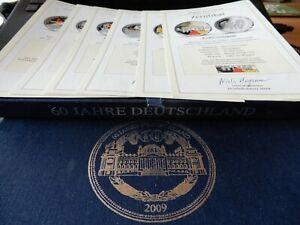 6 Silber Medaillen mit Farbveredelung -60 Jahre Deutschland 2009- im Schuber