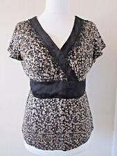 MONSOON top, black gold, silk blend,black trim, beads sequins faux wrap, size 14