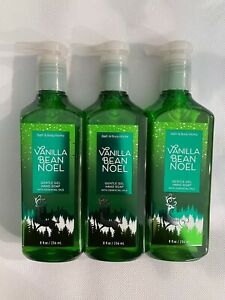 3 Bath & Body Works Vanilla Bean Noel Gentle Gel Hand Soap 8 FL OZ