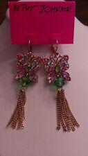 Betsey Johnson long butterfly earrings, in gold tone