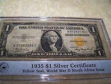 1935 A $1 DOLLAR BILL SILVER CERTIFICATE WWII WW2 YELLOW GOLD SEAL