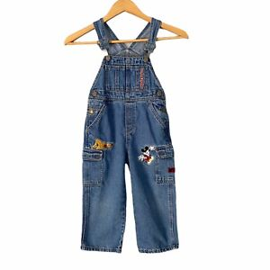 Mickey & Co Denim Overalls Sport Mickey Mouse Pluto Youth Size 4