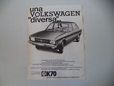 advertising Pubblicità 1971 VOLKSWAGEN K70 K 70